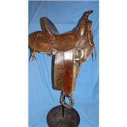 "Miles City Saddlery loop seat 14"", #498, flower & basket tooled, rd skits, iron stirrups"