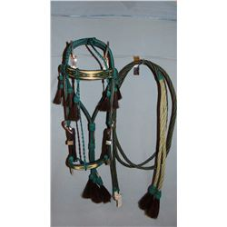 S. Dak. State Prison-made hitched horsehair headstall, newer