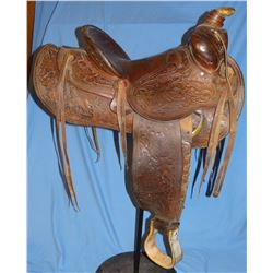 "Hamley 14 1/2"", flower tooled, CAC back of cantle, Mickey Kane's saddle"
