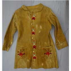 Cree scout beaded coat, floral pattern on tanned hide, elk ivory buttons, ca. 1900