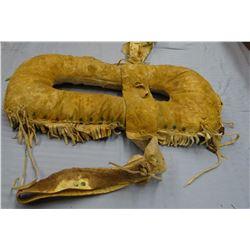 "Cree beaded buckskin pad saddle, 1890's, 16"" w x 28"" l"