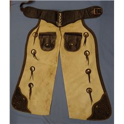 Batwing spotted chaps, ca. 1920-30's, attributed to Herman Heiser