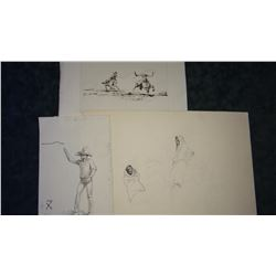 2 Will James original pencil and one pen/ink drawing, un-signed, asstd. sizes, 1 print, un-framed