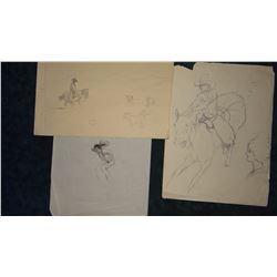 3 Will James original pencil and pen/ink drawings, all un-signed, un-framed, asstd. sizes,
