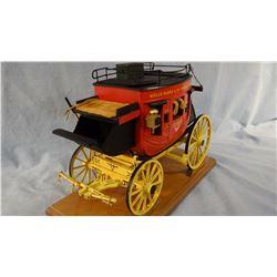 "Miniature wooden stage coach by Cortez, (9"" h x 12"" l"