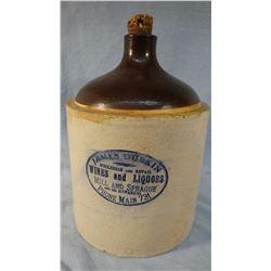 James Durin 1 gal. ,Mill & Spraque, WA, crock whiskey jug, Spokane Pottery Works, shows crazing