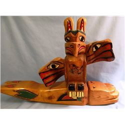 """Northwest whale totem, ca. 1930, 22"""" x 5"""" x 6"""" inches"""