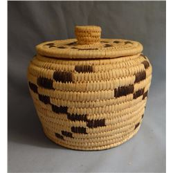 """Papago basket with lid,  6 x 6"""", ca 1980"""