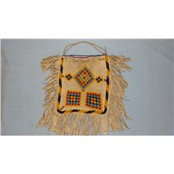 """Plains Indian beaded tanned hide bag, 8"""" x 5 3/4"""""""