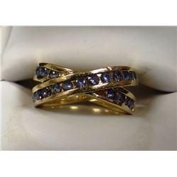 Yogo Sapphire ring w/ 22 small Yogos, criss-cross design, 14k yg, size 6 1/2