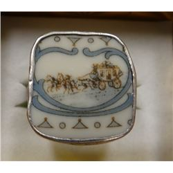 Sterling silver man's ring, hand painted stage coach, size 11 1/2