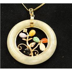 Jadeite ladies pendant, multi-colored Jadeite set in Jadeite ring, 14 kt yellow gold