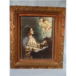"Vintage print of St. Cecilia, beautiful ornate frame, 12"" x 16"""