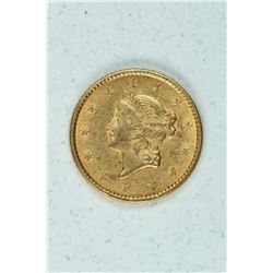 1852 $1 Gold Coronet, about MS60+