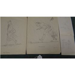 4 Will James pencil drawings, assorted sizes, Mr & Mrs Graften & 2 smaller drawings