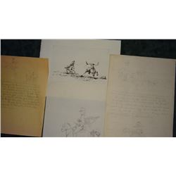 4 Will James pencil drawings, assorted sizes, unsigned