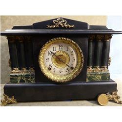 Ingraham black mantle clock, 6 columns