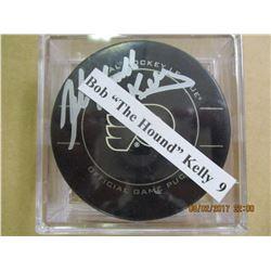 Bob Kelly 9 autographed hockey puck