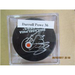 Darroll Powe 36 autographed hockey puck