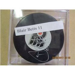 Blair Betts 11 autographed hockey puck
