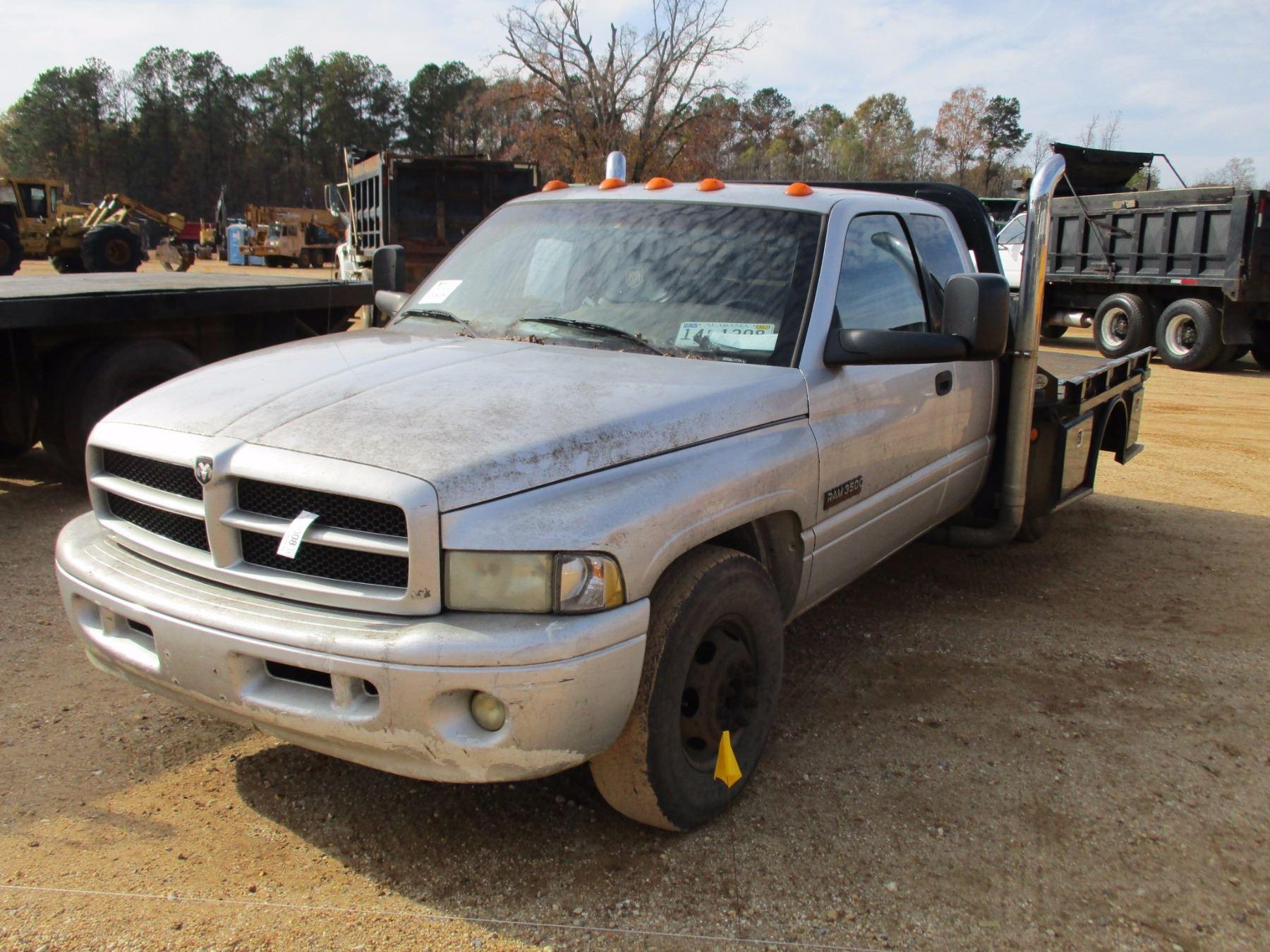 2001 Dodge Ram 3500 Flatbed Truck Vin Sn 1b7mc33781j556524 Ext Cab Cummins Turbo Diesel Engine