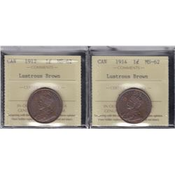 1912 & 1914 Graded One Cents