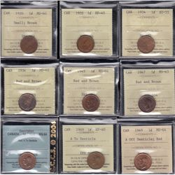 Lot of 16 ICCS & CCCS Graded One Cents