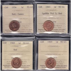 Lot of 4 ICCS Graded One Cent Coins
