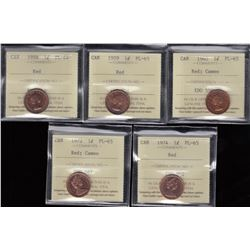 Lot of Five ICCS Graded One Cent Coins