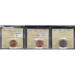 Lot of 3 ICCS Graded Coins