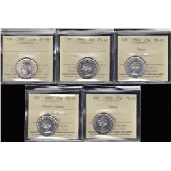 Lot of Five ICCS Graded Twenty-Five Cents