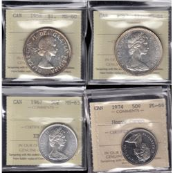 Lot of Four ICCS Graded Coins