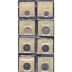 Lot of 8 ICCS Graded Coins