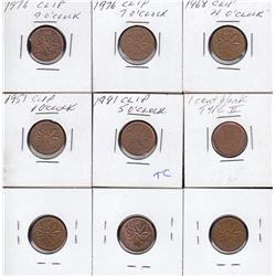 Lot of 9 minor penny errors