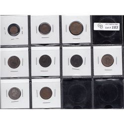 Great Britain Lot of 9 Coins - Highlights are: 1844 Victoria Half Farthing VF; 1852 Victoria Quarter