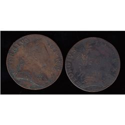 George III Evasion Halfpenny, 1775 Lot of 2
