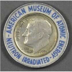 Silver American Museum of Atomic Energy Neutron Irradiated 1956 Mercury Dime