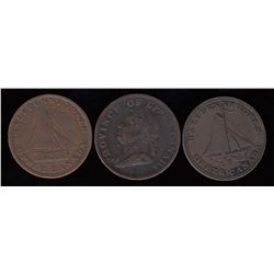Upper Canada Half Penny Tokens, lot of 3