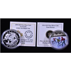 2014 Under the Maple Tree $25 & 2014 Pond Hockey $20 Fine Silver Coins