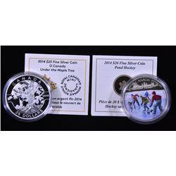 2014 Under the Maple Tree $25 & 2014 Pond Hockey $20 Fine Silver Coins
