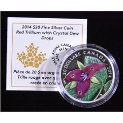 2014 Red Trillium with Crystal Dew Drops $20 Fine Silver Coin