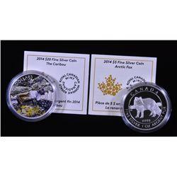 2014 Arctic Fox & Caribou $20 Fine Silver Coins
