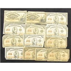 Dominion of Canada Shinplaster Lot of 12