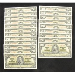 Bank of Canada $20, 1937 - Lot of 42