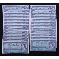 Bank of Canada $1, 1954 Prefix Set - Lot of 25