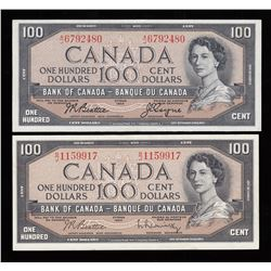 Lot of Two Bank of Canada $100, 1954