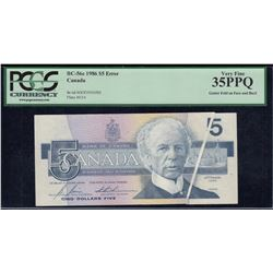 Bank of Canada $5, 1986 Error