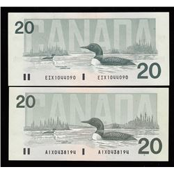 Lot of Two Bank of Canada $20, 1991 Replacements