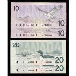 Lot of Four Bank of Canada $10 & $20 Bird Series Notes
