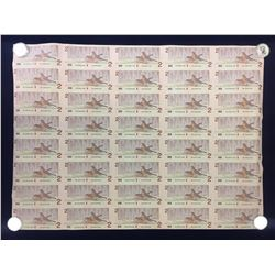 1986 Bank of Canada $2 Banknote Sheet of Uncut 40 Notes - 5X8 Format CBJ Prefix